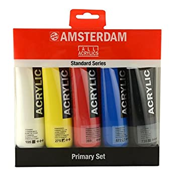 Royal Talens Amsterdam Standard Series Acrylic Color 120ml Tubes Set of 5 Primary Colors  17790905  Multicolor