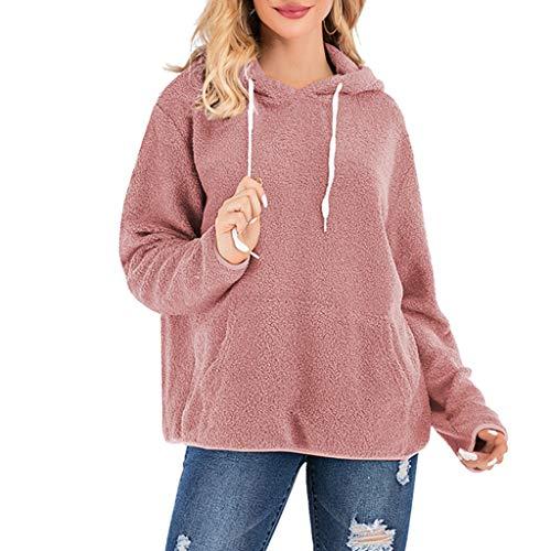 Luoluoluo Fleece Pullover Dames winter sweatshirt mantel met capuchon Teddy Fleece Tops meisje warm vrouwenbovendeel met zakken