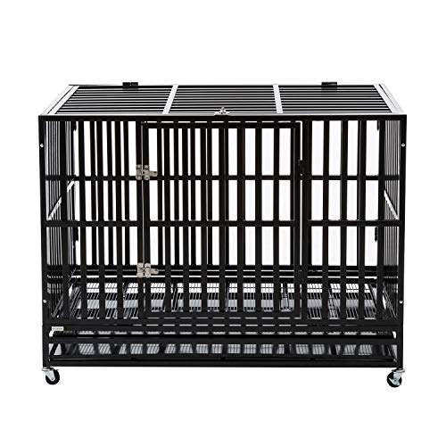 PANEY Heavy Duty Metal Rolling Dog Crate