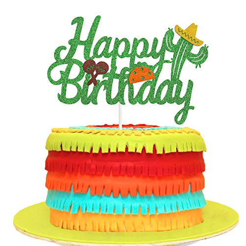 Cactus Happy Birthday Cake Topper with Taco and Maracas Mexican Theme Birthday Party Supplies