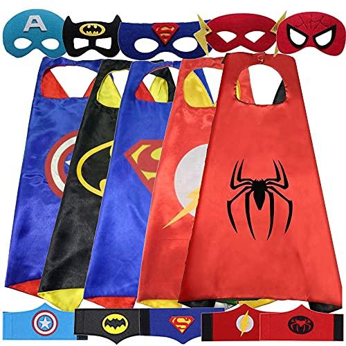 Costumi da Supereroi per Bambini - 5 Mantelli e 5 Maschere e 5 Braccialetto Regali di Compleanno - Costumi Carnevale Mantelli e Maschere Giocattoli per Bambini e Bambine