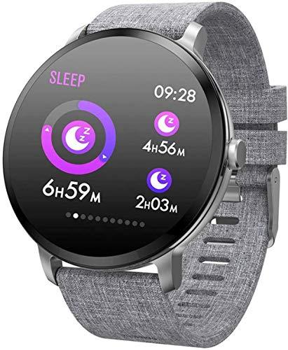 JSL Reloj inteligente Bluetooth Fitness Tracker pantalla de color vidrio templado modo deportivo inteligente impermeable pulsera negro-plata
