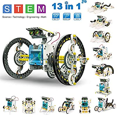 Building Robots for Kids, STEM Educational Toys Robot DIY Learning Science Experiment Kits Robotic Game Toys 13 in 1 Solar Robot Kits Construction Engineering Set for Aged 8 and Up