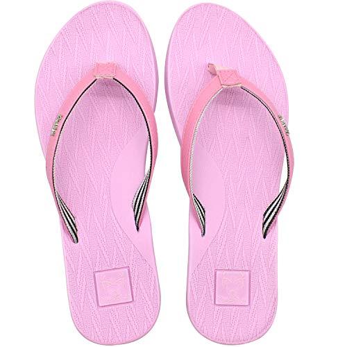 KuaiLu Bade Flip Flops Damen Ultraleicht Leder Stoff Zehentrenner Bequeme Yoga Matte Fußbett Badeschuhe Sommer Strand Comfy Sandalen Rosa 38
