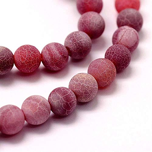 Perlas de piedras preciosas de 4 mm, ágata mate, selección de colores, juego de bola, piedra natural esmerilada, perlas semipreciosas, perlas con agujero para enhebrar, perlas de joyas (rojo)