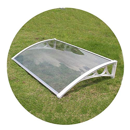 LRZLZY Polycarbonate Window Awning DIY Kit, Clear Cover Board, White Aluminum Brackets Protects From Sun, Rain (Size : 120CMX60CM)