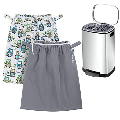 Teamoy 2 Pack Pail Liner for Cloth Diapers, Reusable Diaper Pail Bag with Elastic Band and Drawstring, Fits for 13.2 Gallon Trash Can and Diaper Pails, Owls + Gray