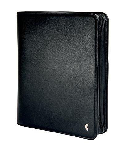 Chronoplan 50163 nachfüllbarer Terminplaner / Organizer / Terminkalender Mappe aus Kunstleder (Format A5 (220 x 275 mm) mit Reißverschluss, Ringbuch, ohne Kalendarium) schwarz