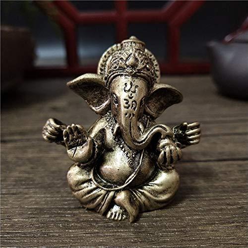 JONJUMP Estatua de Buda de color bronce ornamentos Elefante Hindú Dios Escultura Figuritas Decoración del hogar Oficina Buda Estatuas