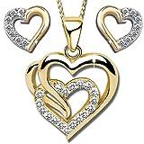 Herzkette aus 925 echt Sterling Silber Damen-Kette mit Herz-Anhänger Ohrringe für Frauen Liebe Geschenk Idee Schmuck-Set (Gold K614+K601+V11, 50)
