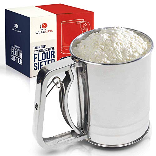 Calle Luna Flour Sifter – Premium Stainless Steel Flour Sifter for Baking – Four Cup Baking Sifter with Spring Action Handle – Double Mesh Sifter for Flour, Powdered Sugar, Baking Powder