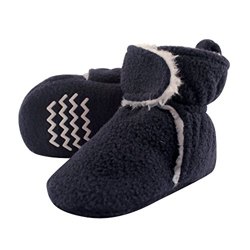 Hudson Baby Unisex Baby Cozy Fleece and Sherpa Booties, Navy, 0-6 Months