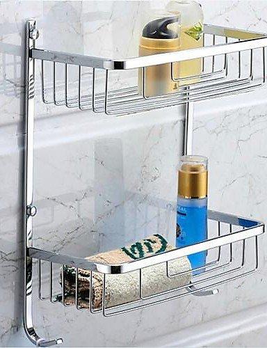 QMM accessoires de salle de bains,Fini Chrome Acier inoxydable Paniers d'eau avec des crochets , silver