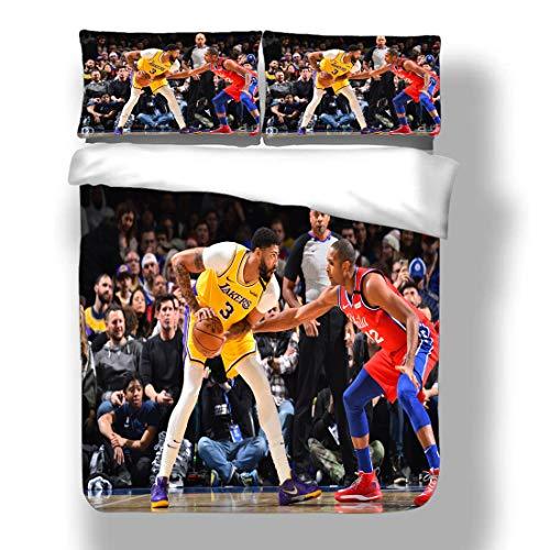 Juego de Funda nórdica Asociación Nacional de Ropa de Cama para Jugadores de Baloncesto Playoffs Finales Allstar Super Star Score A Basket Hook Shot Edredón con 2 Fundas de Almohada Semifinale