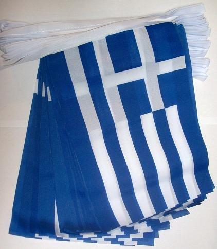 AZ FLAG Guirlande 6 mètres 20 Drapeaux Grèce 21x15 cm - Drapeau Grec 15 x 21 cm