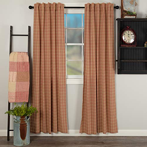 VHC Brands Sawyer Mill Red Panel Set 2 Lined Drapes Farmhouse Country 84 Inch Long Cotton Plaid for Living Room Curtain, 84x40