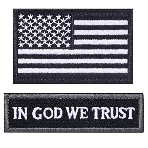ELLEWIN Tactical Morale Patch USA Flag Dont Tread On Me in God We Trust (Black(USA Flag+in GOD WE Trust))