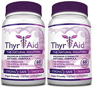 ThyrAid: Best Thyroid Support Supplement - Boosts Metabolism & Energy Levels and Maintains Healthy Weight - Supports Healthy Thyroid Function -Vegan friendly Formula - 2 Bottles (2 Months Supply)
