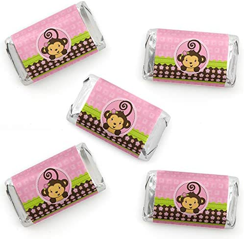 Pink Monkey Girl Mini Candy Bar Wrapper Stickers Baby Shower or Birthday Party Small Favors product image