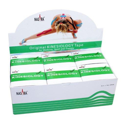 Nasara Kinesiologie Tape kinesiologische Tapes grün 5m x 50mm Spenderbox (6er VE Umkarton)