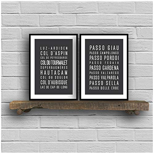 Generic Radfahren epische Klettertouren der Pyrenäen Kunst Poster Leinwand Malerei, Radfahren epische Klettertouren der Dolomiten Leinwand Wand Decor-50x70cmx2pcs-No Frame