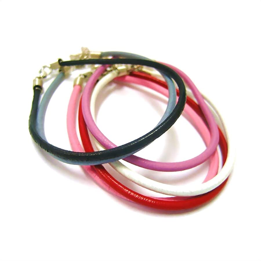 Linpeng PU Cord Multicolor Imitation Leather Bracelets 6 Pack, Assorted Color