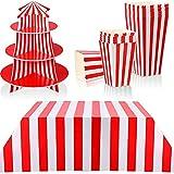 14 Piezas Decoraciones de Fiesta Temática de Carnaval de Rayas Rojas y Blancas Incluido Soporte de Espuma para Cupcakes de 3 Niveles Cubierta de Mesa y Cajas de Palomitas de Maíz