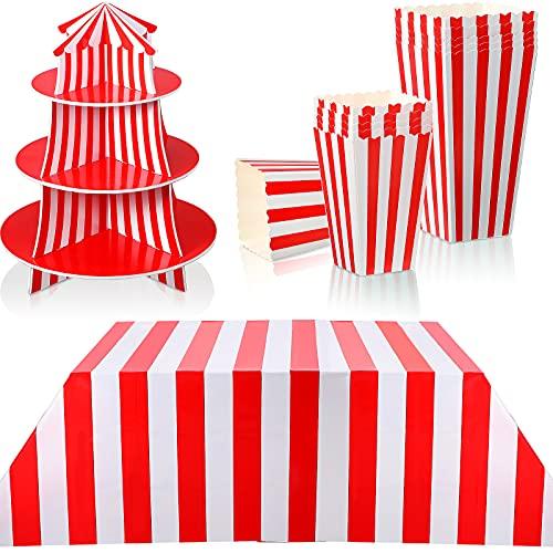 14 Pièces Décorations de Fête sur le Thème du Carnaval Inclure Couverture de Table de Carnaval de Support de Mousse de Cupcake et Boîtes à Pop-corn Décorations à Rayures Rouges et Blanches