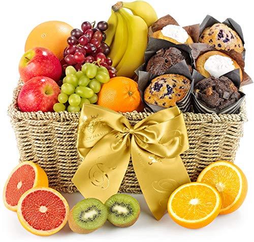 Fresh Fruit & Muffin Hamper - Hand Wrapped Gourmet Food Basket, in Gift Hamper Box