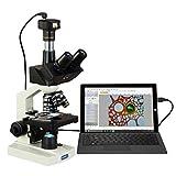 Omax 40x -2500X Digital Lab - Microscopio trinocular compuesto con luz LED, cámara digital de 5 MP y soporte de doble capa mecánica