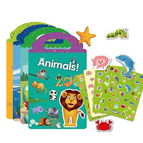 Puzzle 4 Juegos De Pegatinas Impermeables Libro para Niños Juegos De Rompecabezas Niños Pegatinas De Bricolaje Divertidos Dibujos Animados Órganos del Océano Insectos Animales Pegatina