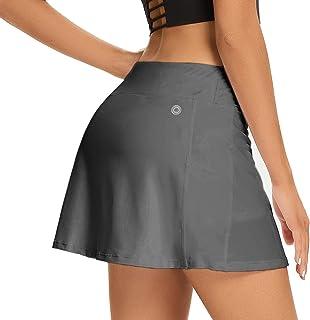 Hubunucc Women's Athletic Skorts Tennis Lightweight Active Skirts with Shorts Pockets Running Golf Workout Sports,178,Grey,S