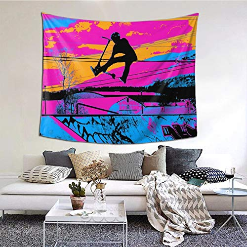 LIAM HENDERSON Let's Fly! - Stunt Scooter Tapestry Poster Wall Hanging, Boutique Art Wall Hanging Tapestry Tapestry for Living Room Bedroom Home Decor (59.1 x 51.2 inch)