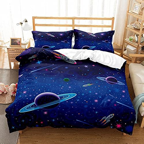 CMYKYUH Impresión Funda de edredón 240 x 260 cm Cielo Estrellado Azul Poliéster superfina Juego de Cama de fácil Cuidado, Funda Nórdica con Cierre de Cremallera + 2 Funda de Almohada 50x75 cm
