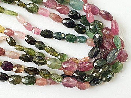 1 rang natürliches Multi Turmalin Perlen, Turmalin facettiert Drum Perlen, Turmalin, Doppelkegel,, Turmalin Halskette, 5 7  ca., 35,6cm