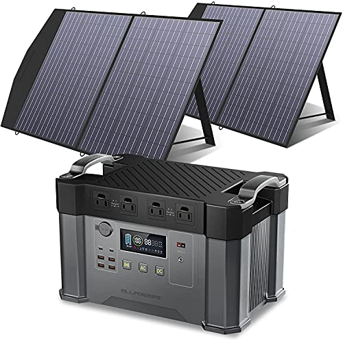 ALLPOWERS Monster X 2000W Solar Generator with Solar Panels included 1500Wh Portable Power Station with 2 Foldable Solar Panels 100W for Battery Backup Electric Vehicle RV Emergency