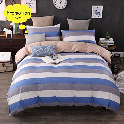 BuLuTu Bedding Tricolor Stripes Cotton Duvet Cover Sets Twin 3 Pieces Home Blue Bedding Collection Sets For Kids Adults With 4 Corner Ties