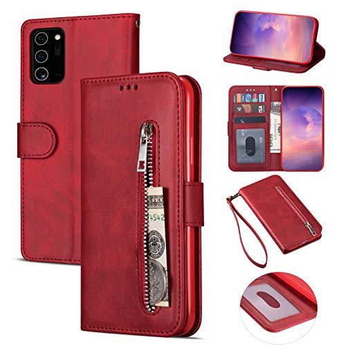 Nadoli Lederhülle für Samsung Galaxy Note 20 Ultra,Stilvoll Reißverschluss Entwurf Pu Leder Magnetverschluss Standfunktion Kartenfächer Brieftasche Handyhülle Etui mit Lanyard