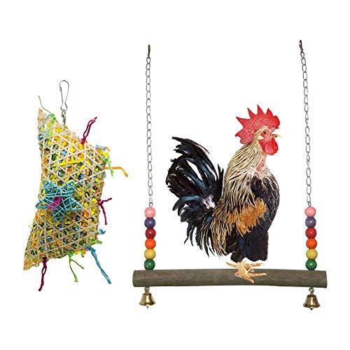 UNIIKE Huhn Schaukel Spielzeug Henne Natürliches Holz Perch Kauen Foraging Schredder Papier hängende Spielwaren für großen Vogel Parrot Hens Ara 2ST