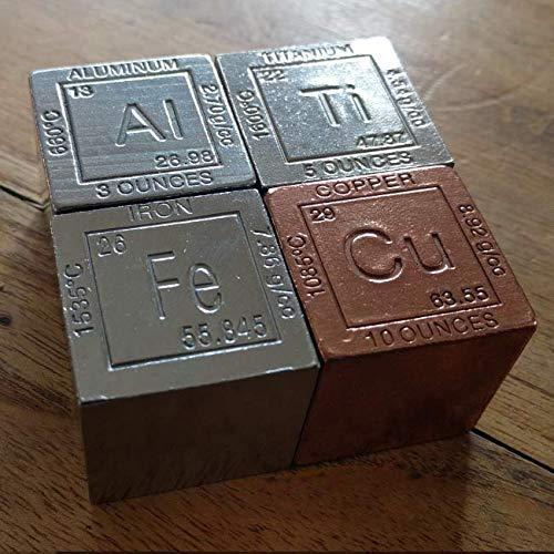 Set de 4 cubos de Titanio Ti (aprox 155g), cobre Cu (aprox 3