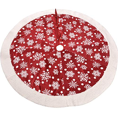 TINTON LIFE 42' Christmas Tree Skirt Plush Tree Skirts Ornaments Xmas Decorations White Snowflake Printed for Christmas Party