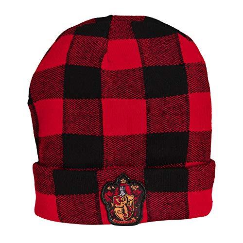 cotton division Harry Potter Mütze Gryffindor Wappen Karo Beanie rot schwarz