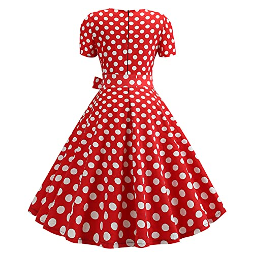 Womens Swing Dress A Line Vintage Short Sleeve Polka Dot Printing BowKnot Square Collar Tunic Party Dresses