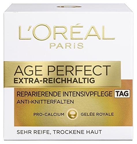 L'Oreal Paris Age Perfect Extra-Reichhaltig Gesichtscreme, mit Pro-Calcium und Gelée Royale für den Tag, kräftigt und glättet trockene Haut, 50 ml