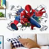 Stickers muraux Spiderman pour chambre d'enfant ou chambre à coucher, 90 x 60 cm