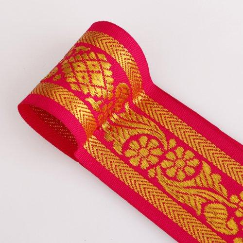 Neotrims Ruban Satin Indien Rose Cerise Fleurs Salwar Kameez Sari Brocard Garniture Bordure 2 Mètres ou 8,2 Mètres Longueur. Scintillant, Chatoyant Tissu Modèle Or Fleurs Rose Satin Bordure