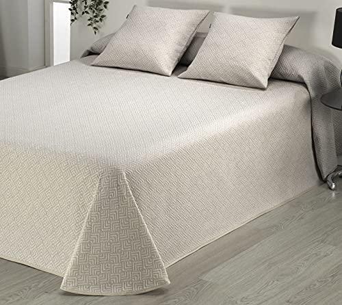 Sibiles - Colcha Piqué Cama 90, 105, 135, 150, 180 y 200 Dibujo Geométrico con Ribete Beta 10 (280x270 cm - Cama 180/200, Crudo)