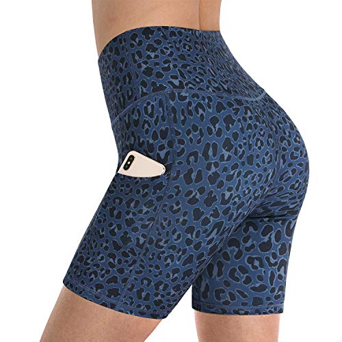 "Promover Womens Workout Yoga Shorts Buttery Soft Running Dance Volleyball Short Pants Leopard Print with Phone Pockets 5"" Inseam (Blue Leopard, L)"