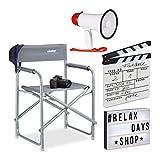 Relaxdays Pack de Silla Director, Caja de Luz con 85 Fichas, Megáfono de 10 W y Claqueta Cine Blanca de Madera