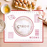 Silicone Pastry Mat Non Stick Baking Mat with Measurement- Fondant Mat, Counter Mat, Dough Rolling...